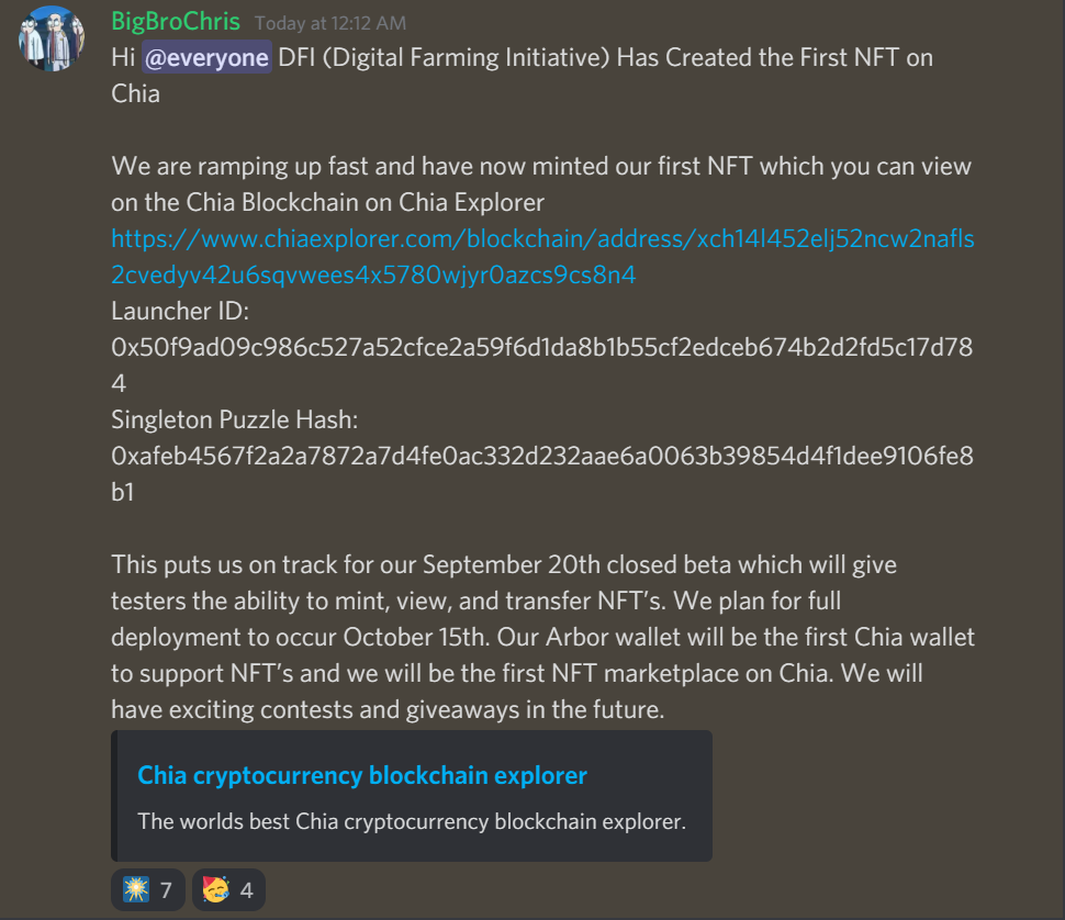 announcement on first chia nft